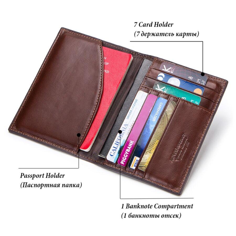 Визитницы - Обложка для паспорта, визитница KAVIS коричневая 1009