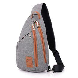 Мужская сумка слинг DINGXINYIZU серая 1040