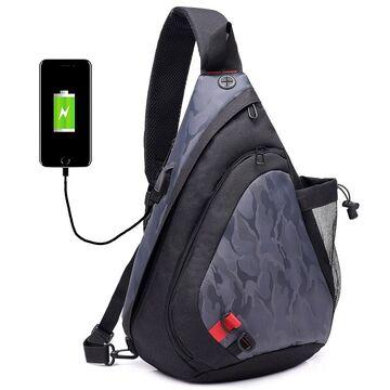 Мужская сумка слинг DINGXINYIZU серая П1042