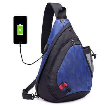 Мужская сумка слинг DINGXINYIZU синяя П1043
