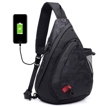Мужская сумка слинг DINGXINYIZU черная 1044