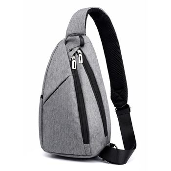 Мужская сумка слинг DINGXINYIZU серая 1045