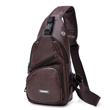 Мужская сумка слинг, коричневая П1048