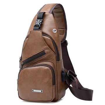 Мужская сумка слинг DINGXINYIZU, коричневая П1049