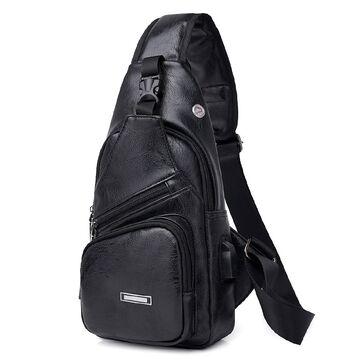 Мужская сумка слинг, черная П1050