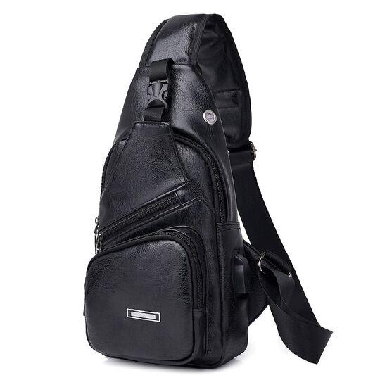 Мужские сумки - Мужская сумка слинг DINGXINYIZU, черная П1050