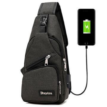 Мужские сумки - Мужская сумка слинг, черная П1053