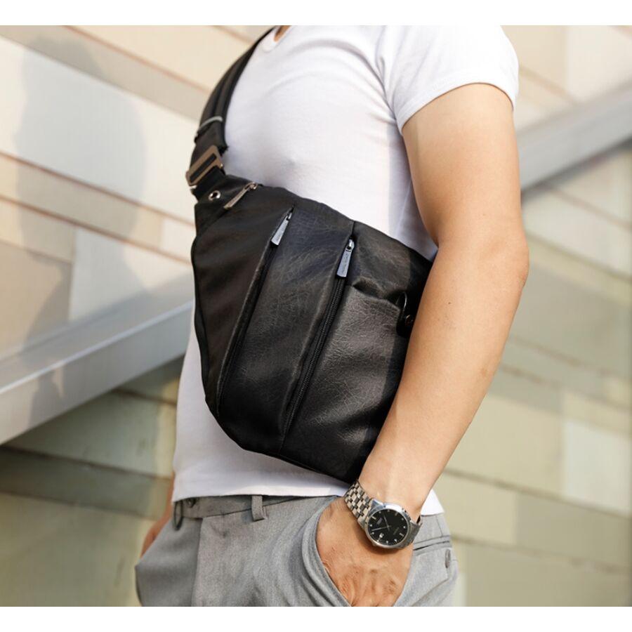 Мужские сумки - Мужская сумка слинг ARCTIC HUNTER, серая 1056
