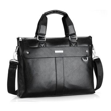 Мужская сумка портфель VORMOR для ноутбука, черная П1145