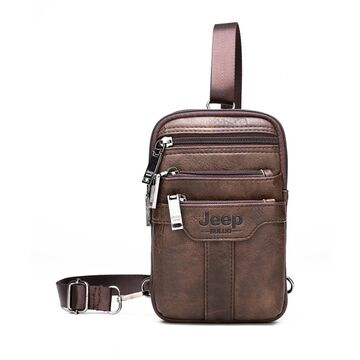 Барсетки - Мужская сумка JEEP BULUO коричневая П1272