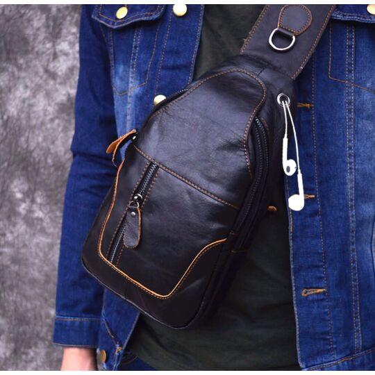 Мужская сумка слинг на плечо AETOO, черная П1300