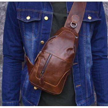 Мужская сумка слинг на плечо AETOO, коричневая 1301
