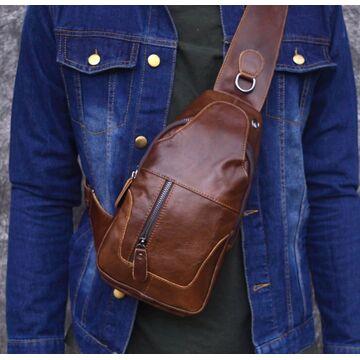 Мужская сумка слинг на плечо AETOO, коричневая П1301