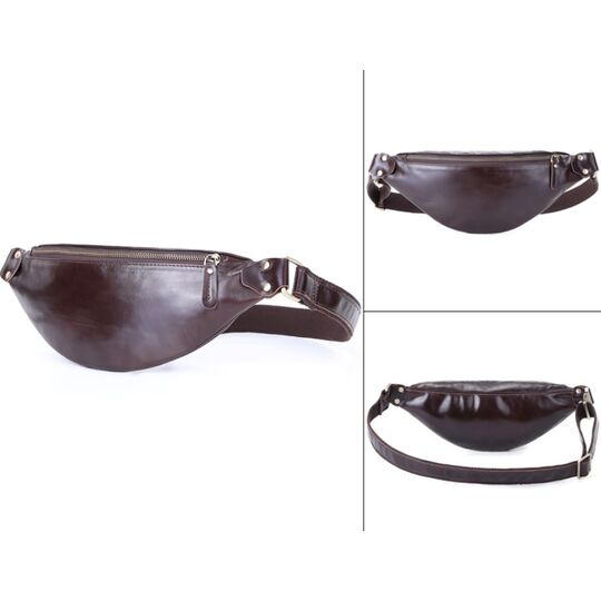 Мужские поясные сумки - Мужская сумка поясная, бананка Misfits, коричневая П1303