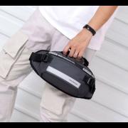 Мужские поясные сумки - Мужская сумка поясная, бананка, серая П1351