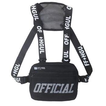 Уличная сумка, жилет, нагрудная, черная 1366