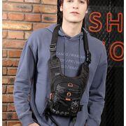 Мужские аксессуары - Мужская сумка поясная, бананка, на бедро, синяя П1377