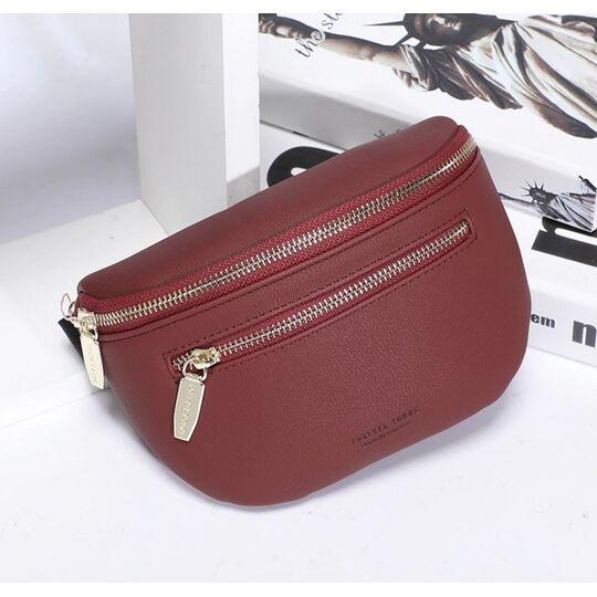 Поясные сумки - Женская поясная сумка, бананка Petrichor, красная П1412