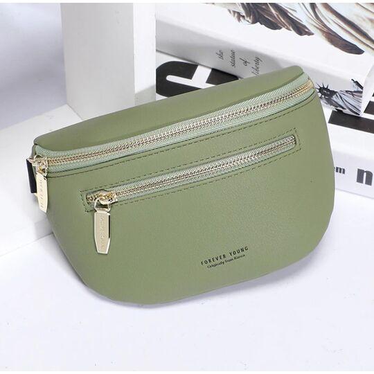 Поясные сумки - Женская поясная сумка, бананка Petrichor, зеленая П1415