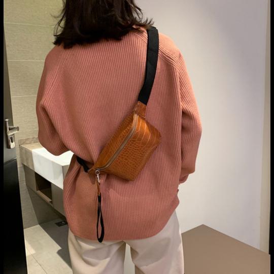 Женская поясная сумка, бананка, оранжевая П1454