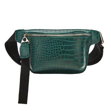 Женская поясная сумка, бананка, зеленая П1455