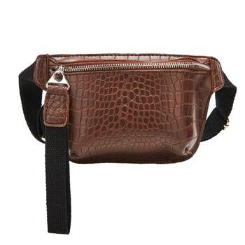 Женская поясная сумка, бананка, коричневая П1456