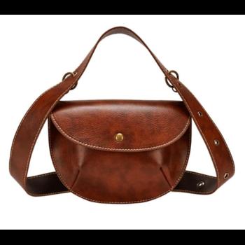 Женская поясная сумка, бананка, коричневая 1463