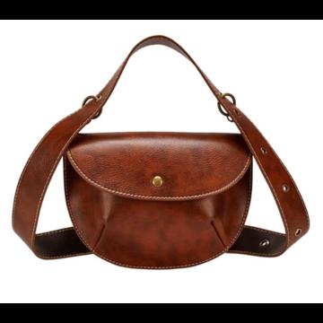 Женская поясная сумка, бананка, коричневая П1463