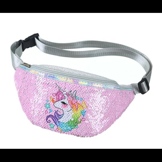 Поясные сумки - Детская сумка поясная, бананка, Единорог, розовая П1469