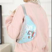 Детская сумка поясная, бананка, Единорог, красная П1471