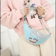 Детская сумка поясная, бананка, Единорог, розовая П1473