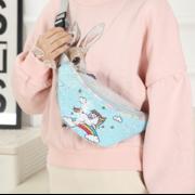 Поясные сумки - Детская сумка поясная, бананка, Единорог, голубая П1475
