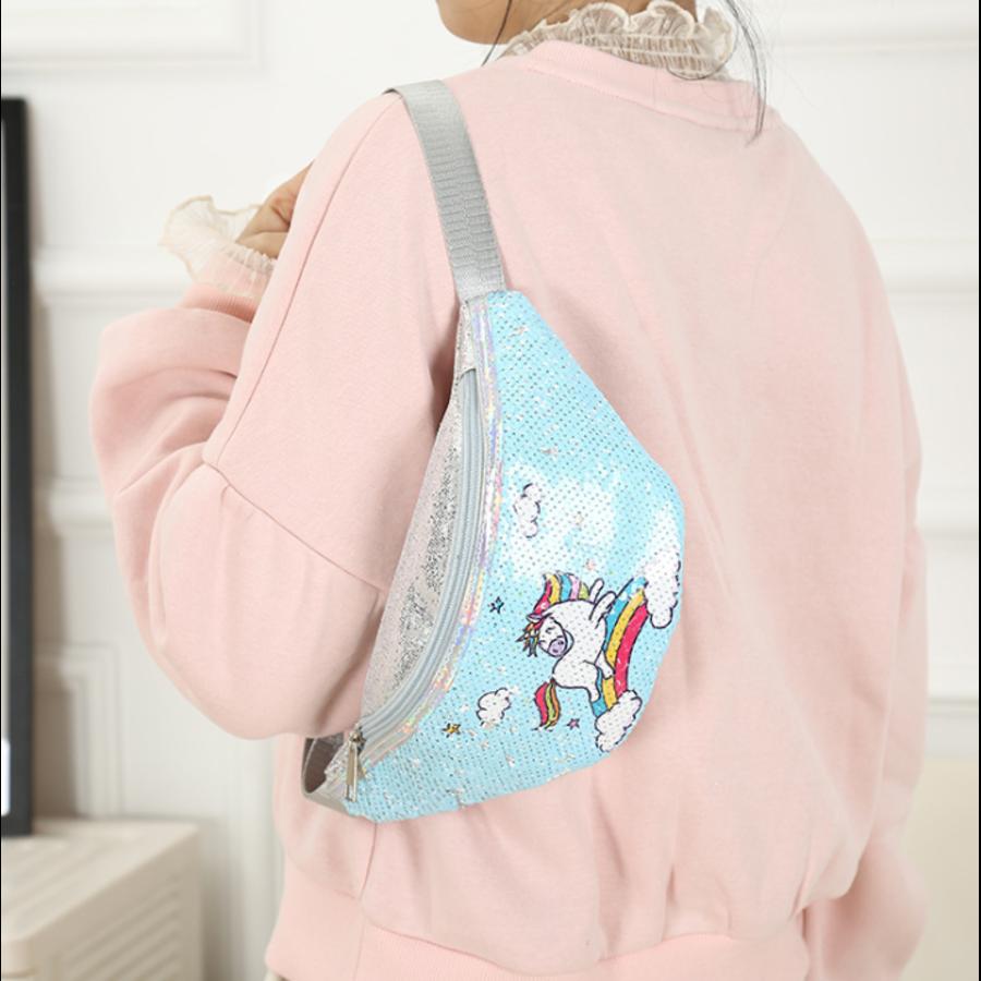Поясные сумки - Детская сумка поясная, бананка, Единорог, голубая П1476