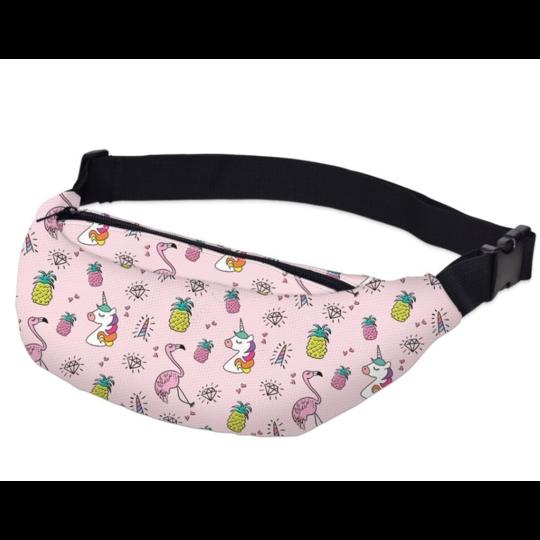 Поясные сумки - Сумка поясная, сумка банан, Единорог, розовая П1493