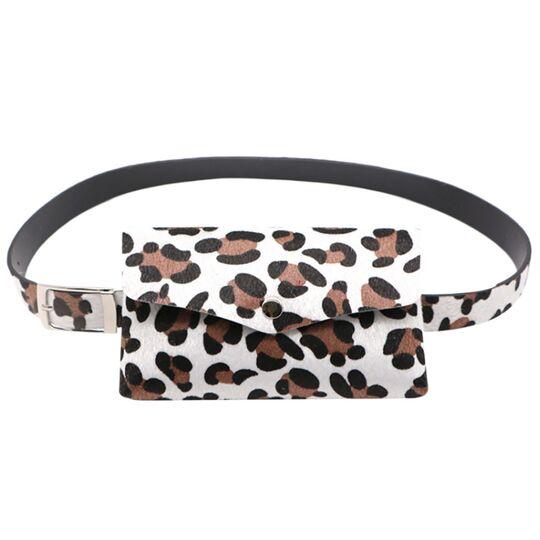 Поясные сумки - Сумка поясная женская, Леопард, белая П1709