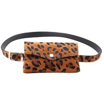 Сумка поясная женская, Леопард, коричневая П1710