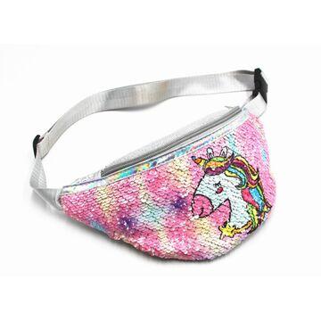 Поясные сумки - Детская сумка поясная, бананка, Единорог, розовая П1830
