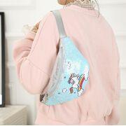 Поясные сумки - Детская сумка поясная, бананка, Единорог, зеленая П1982