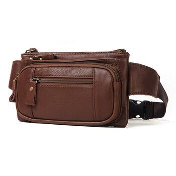 Поясная сумка для мужчин KAVIS, коричневая 1988