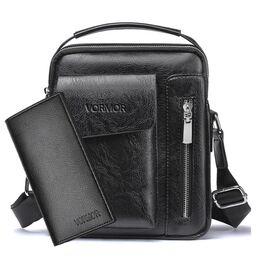Мужская сумка VORMOR, черная с кошельком, 2066