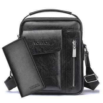 Мужская сумка VORMOR, черная с кошельком, П2066