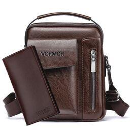 Мужская сумка VORMOR, коричневая с кошельком, 2067