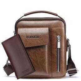 Мужская сумка VORMOR, коричневая с кошельком, 2068