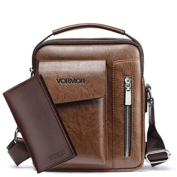 Мужская сумка VORMOR, коричневая с кошельком, П2068