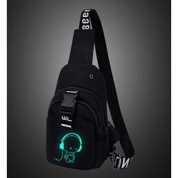 Мужская сумка слинг, черная 2113