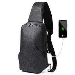Мужская сумка слинг, черная 2114