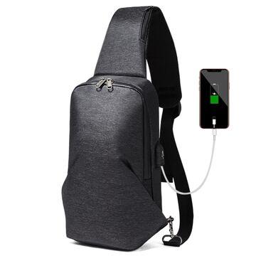 Мужская сумка слинг, черная П2114