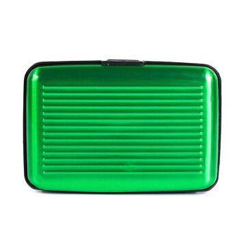 Алюминиевая визитница RFID, зеленая П2161
