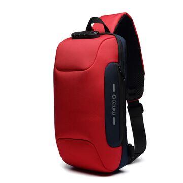 Мужская сумка слинг OZUKO, красная П2165