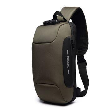 Мужская сумка слинг OZUKO, зеленая П2166